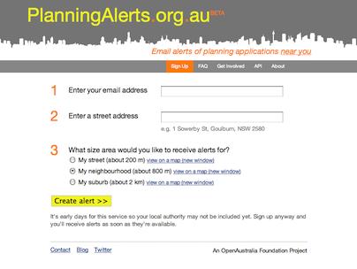 Planning Alerts website screenshot