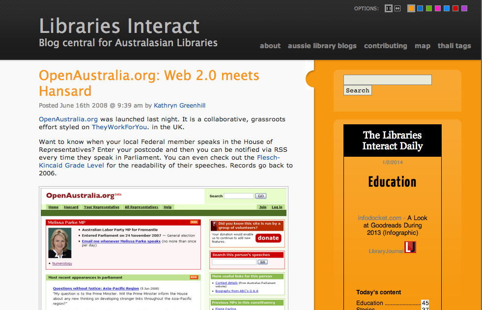 libraries interact: openaustralia.org screenshoot