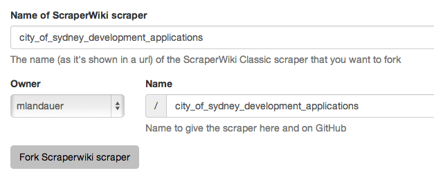 Forking from ScraperWiki