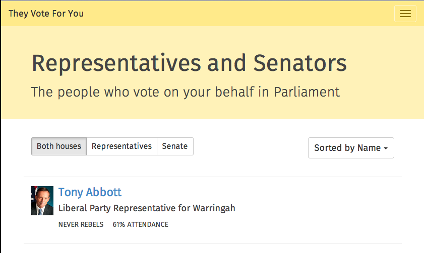 Screenshot of the /people page on They Vote For You
