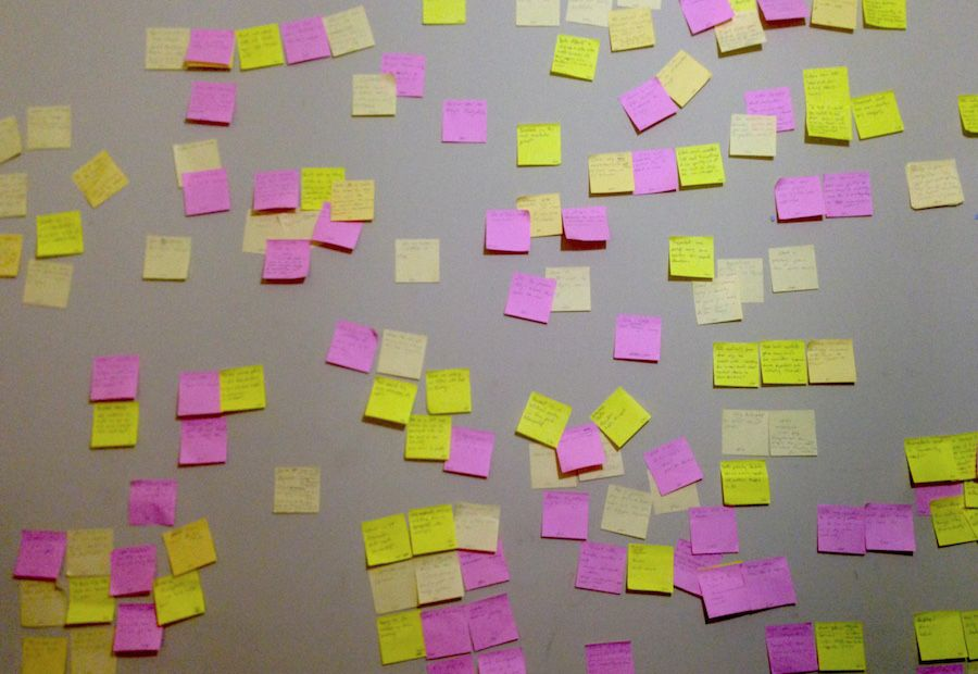 A mess of stickies, collecting and sorting observations we made while speaking with our supporters.
