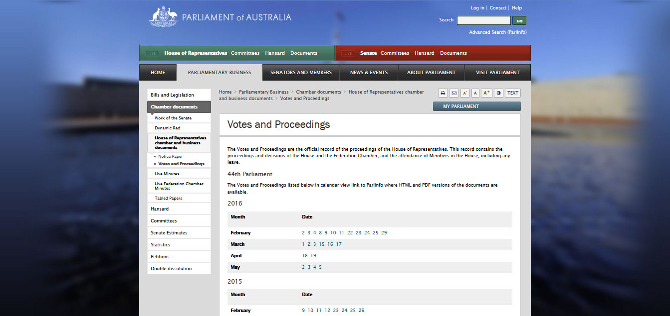 Report Response 2 - Votes and Proceedings screen