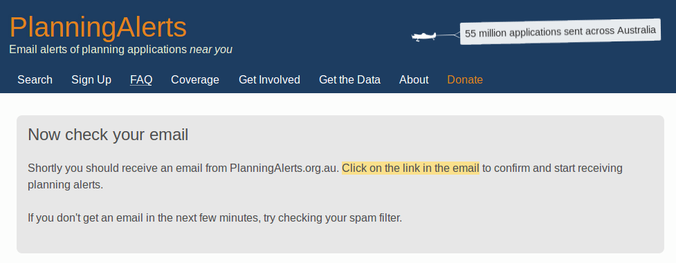 Screenshot of email confirmation page from PlanningAlerts
