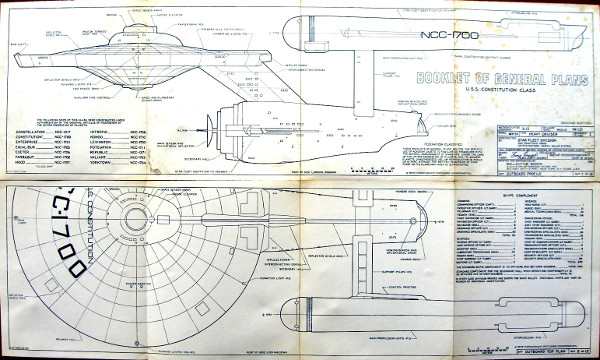 USS Enterprise (NCC-1701) blueprints, from a 1973 book